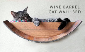 wine barrel cat wall bed