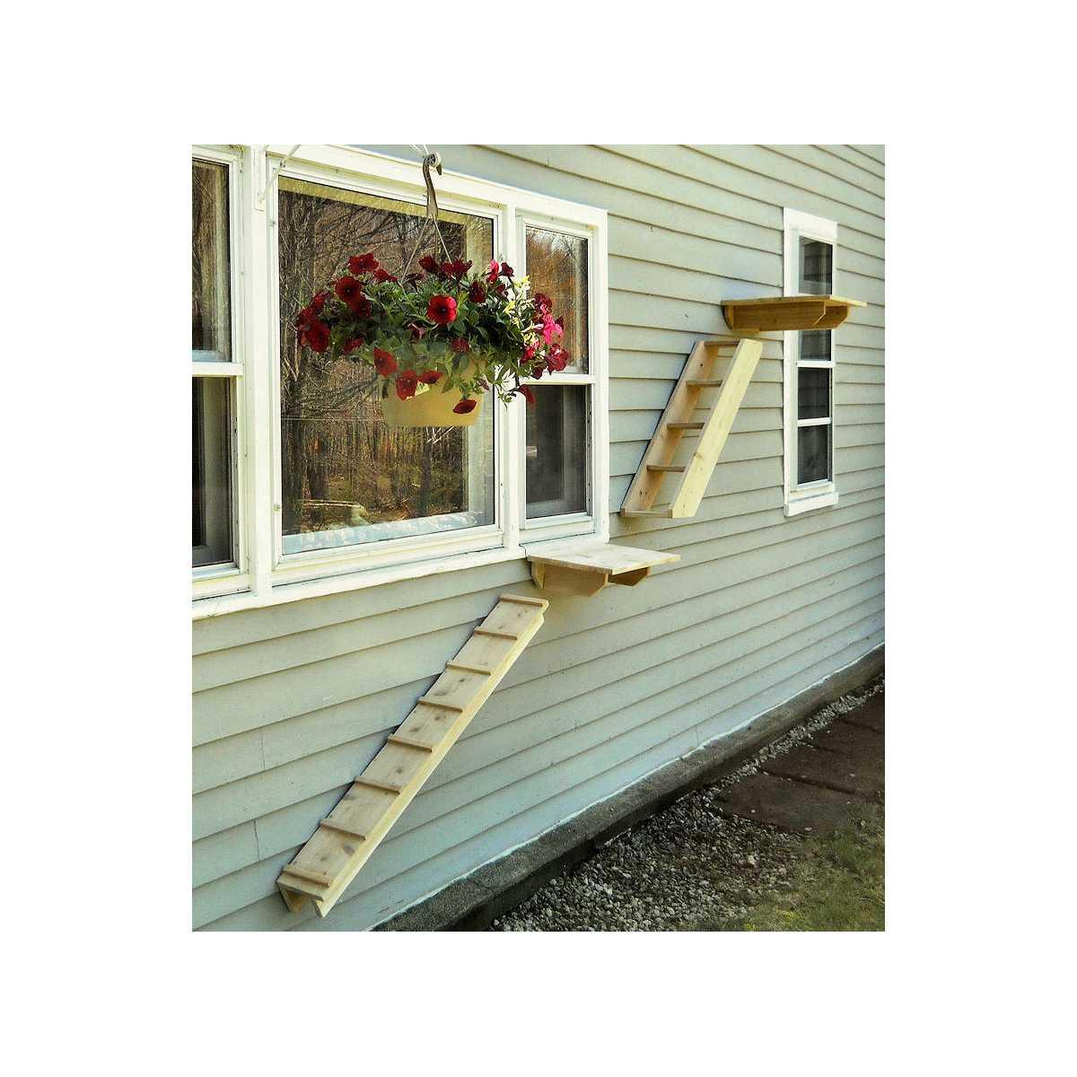 Exterior Wall Ladders : Outdoor cedar cat wall system stair ladder