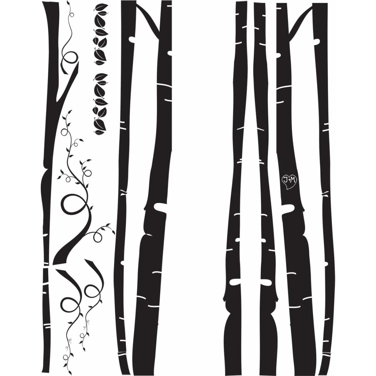 Cat Themed Wall Accent Decal Birch Tree Forest