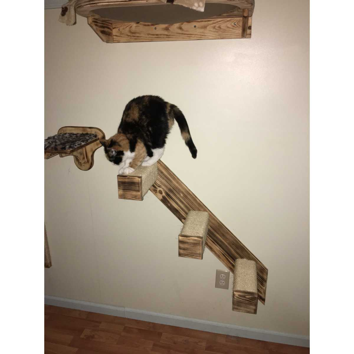 3 step sisal stair wall mounted cat climber catwallshelves superstore. Black Bedroom Furniture Sets. Home Design Ideas