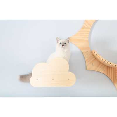 Moku Wall Mounted Cloud Shaped Celestial Cat Shelf