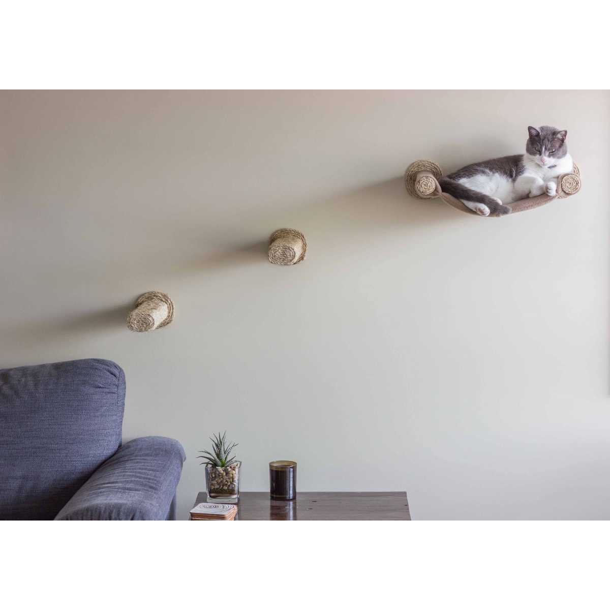 Cat Hammock Wall Mounted Cat Bed With 2 Sisal Steps