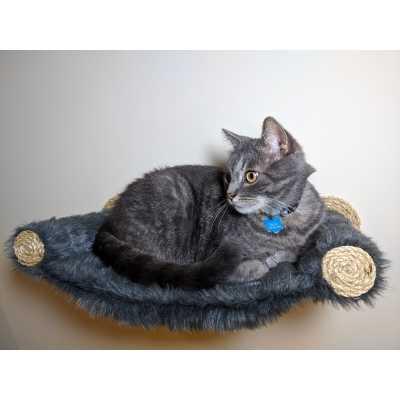 Cat Hammock - Wall Mounted Cat Bed - Dark Grey Faux Fur