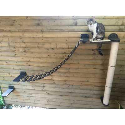 Wall Mounted Cat Suspension Bridge + Sisal Wall Pole + Step