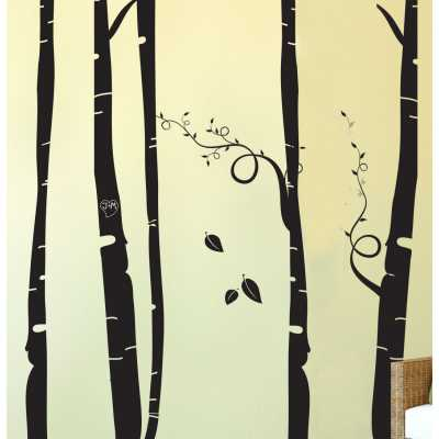 Cat Themed Wall Accent Decal - Birch Tree Forest