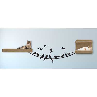Cat Themed Wall Accent Decal - Birds on a Wire