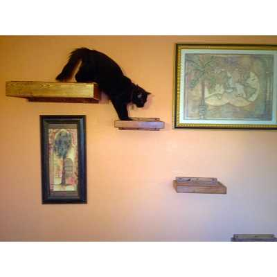 Artisan Made - (4) Floating Cat Wall Shelves + (1) Floating Cat Wall Bed