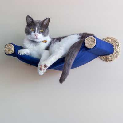Cat Hammock - Wall Mounted Cat Bed - Blue