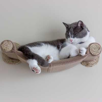 Cat Hammock - Wall Mounted Cat Bed - Tan