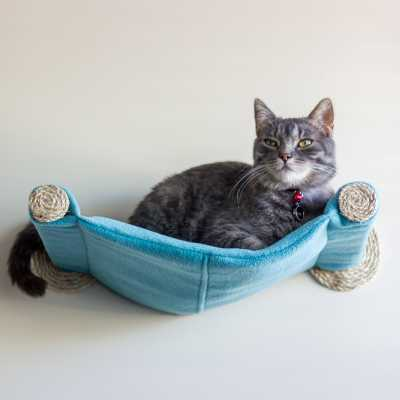 Cat Hammock - Wall Mounted Cat Bed - Teal
